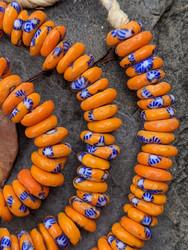OrangeFused Ghana Glass Disk Beads (12x4mm)