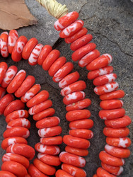 Red Fused Ghana Glass Disk Beads (9-10x3mm)