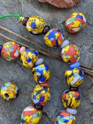 Fused Ghana Glass Beads (7x12mm)