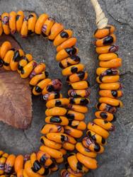 Orange Fused Ghana Glass Disk Beads (9-10x3mm)