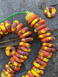 Orange & Yelow Fused Ghana Glass Disk Beads (13x4mm)