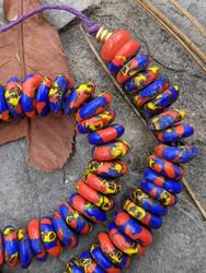 Blue & Orange Fused Ghana Glass Disk Beads (12x4mm)