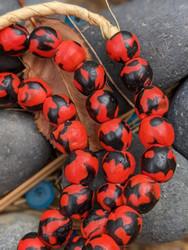 Red & Black Fused Ghana Glass Beads (11x11mm)