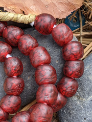 Red 'Bucket' Ghana Glass Beads (10x9mm)