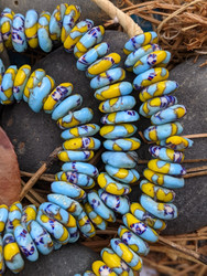 Blue & Yellow Fused Ghana Glass Disk Beads (11-13x3-4mm)