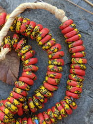 Red & Yellow Fused Ghana Glass Disk Beads (9x3mm)