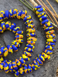 Yellow & Blue Fused Ghana Glass Disk Beads (12-13x5-6mm)