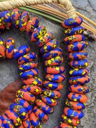 Orange & Blue Fused Ghana Glass Disk Beads (14x5mm)