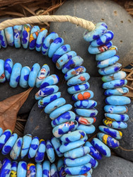 Blue Fused Ghana Glass Disk Beads (14x5mm)