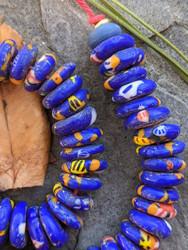 Blue Fused Ghana Glass Disk Beads (11-12x4mm)