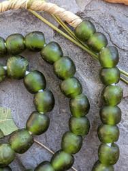 Fern Green Ghana Glass Beads (9x9mm)