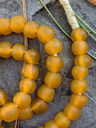 Yellow-Orange Ghana Glass Beads (11x10mm)