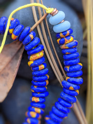Blue Fused Ghana Glass Disk Beads (9x3-4mm)