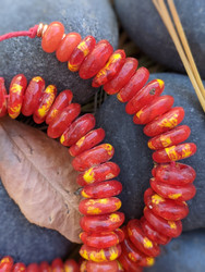 Red Fused Ghana Glass Disk Beads (13x3-4mm)