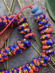 Blue & Orange Fused Ghana Glass Disk Beads (13x5mm)