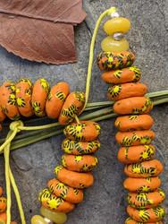 Orange Fused Ghana Glass Disk Beads (14x5mm)