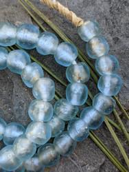 Aqua Blue 'Bucket' Ghana Glass Beads (11x10mm)