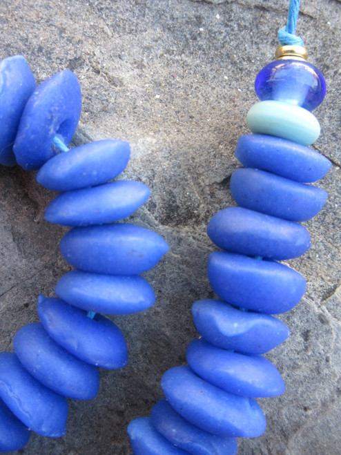 Azure Blue Ashanti Ghana Glass Disk Beads (13-14x4-5mm)