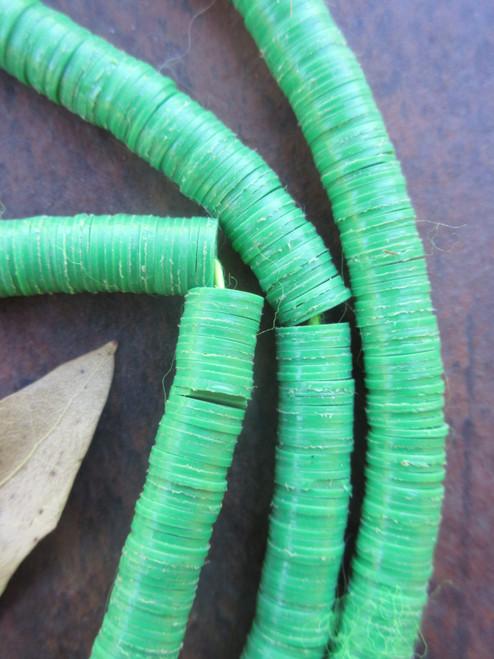 Forest Green African Vinyl Disk Beads (6x1mm)
