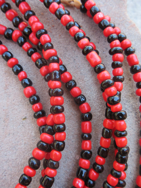 Red & Black Ghana Glass Beads - 4 Strands (4x3mm)