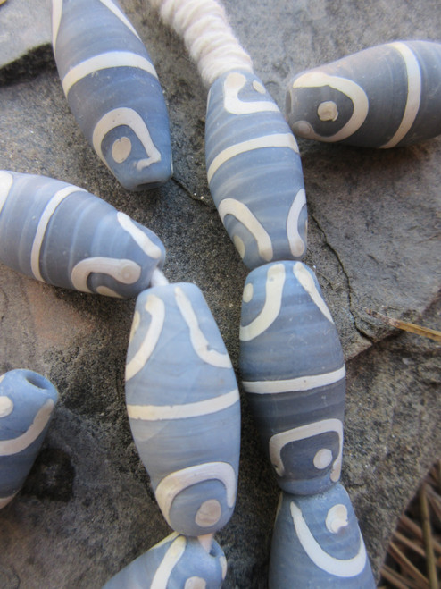Gray African Fancy Glass Beads