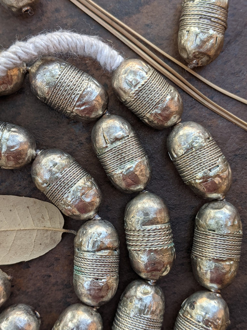 Coin Metal Silver Beads (12x22mm)