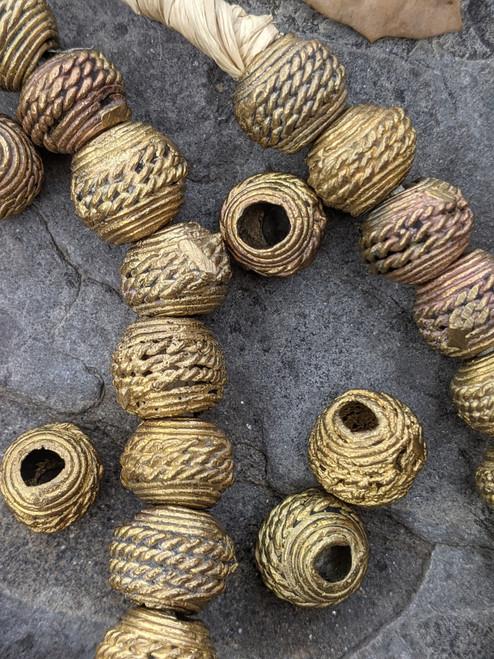Wound Brass Beads (13-14x10-11mm)