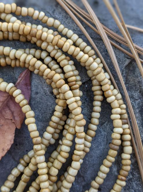 White Ghana Glass Beads - 3 Strands (4x3mm)