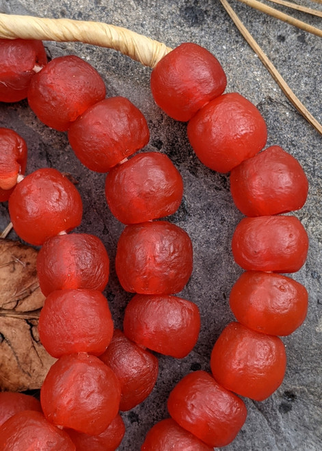 Red Ghana Glass Beads (13x10mm)