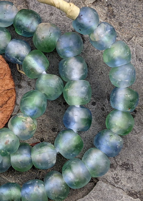 Blue-Green 'Bucket' Ghana Glass Beads (11-12x9-10mm)