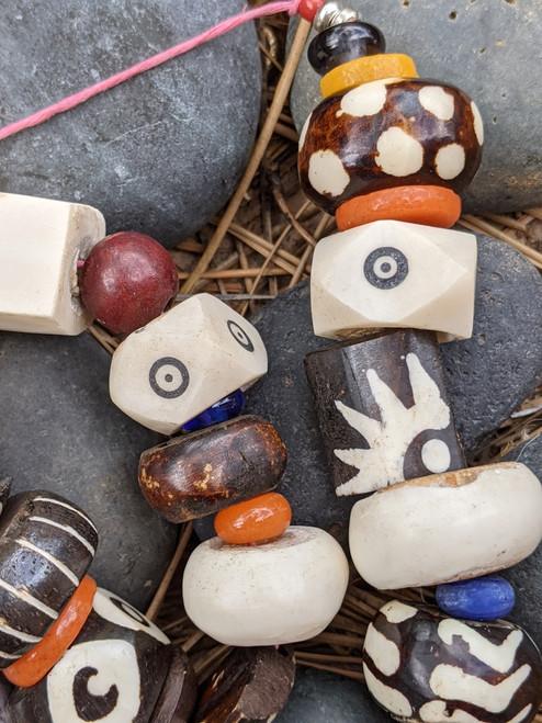 Mixed Large Batik Bone Beads