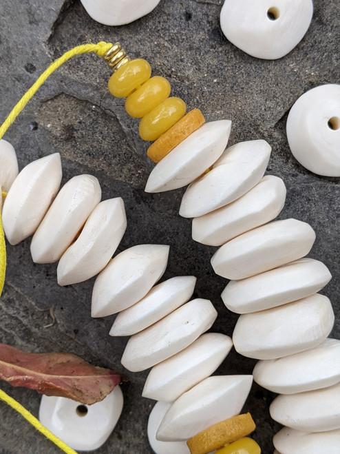White Bone Disk Beads