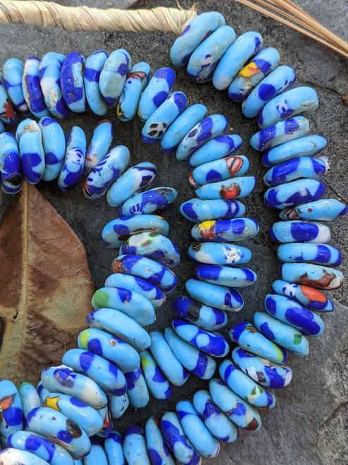 Blue Fused Ghana Glass Disk Beads (12-13x4mm)