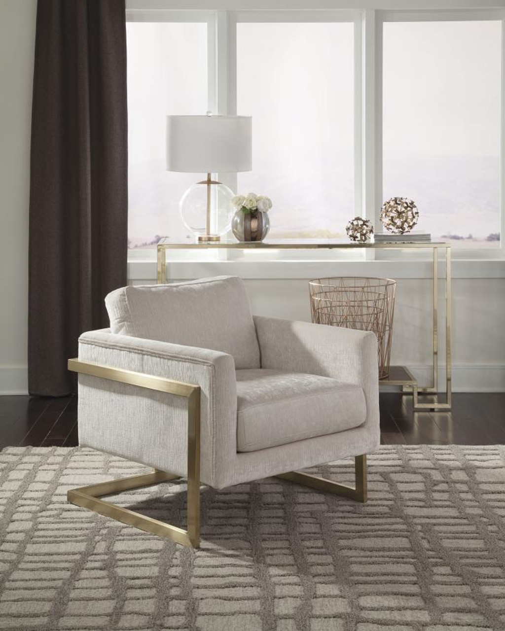 The Modern Ivory And Brushed Brass Accent Chair Sold At Discount Home Furniture Serving Burnsville Mn