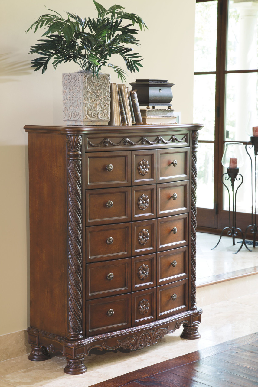 The North Shore Dark Brown 8 Pc Dresser Mirror Chest King Poster Bed With Canopy Sold At Discount Home Furniture Serving Burnsville Mn