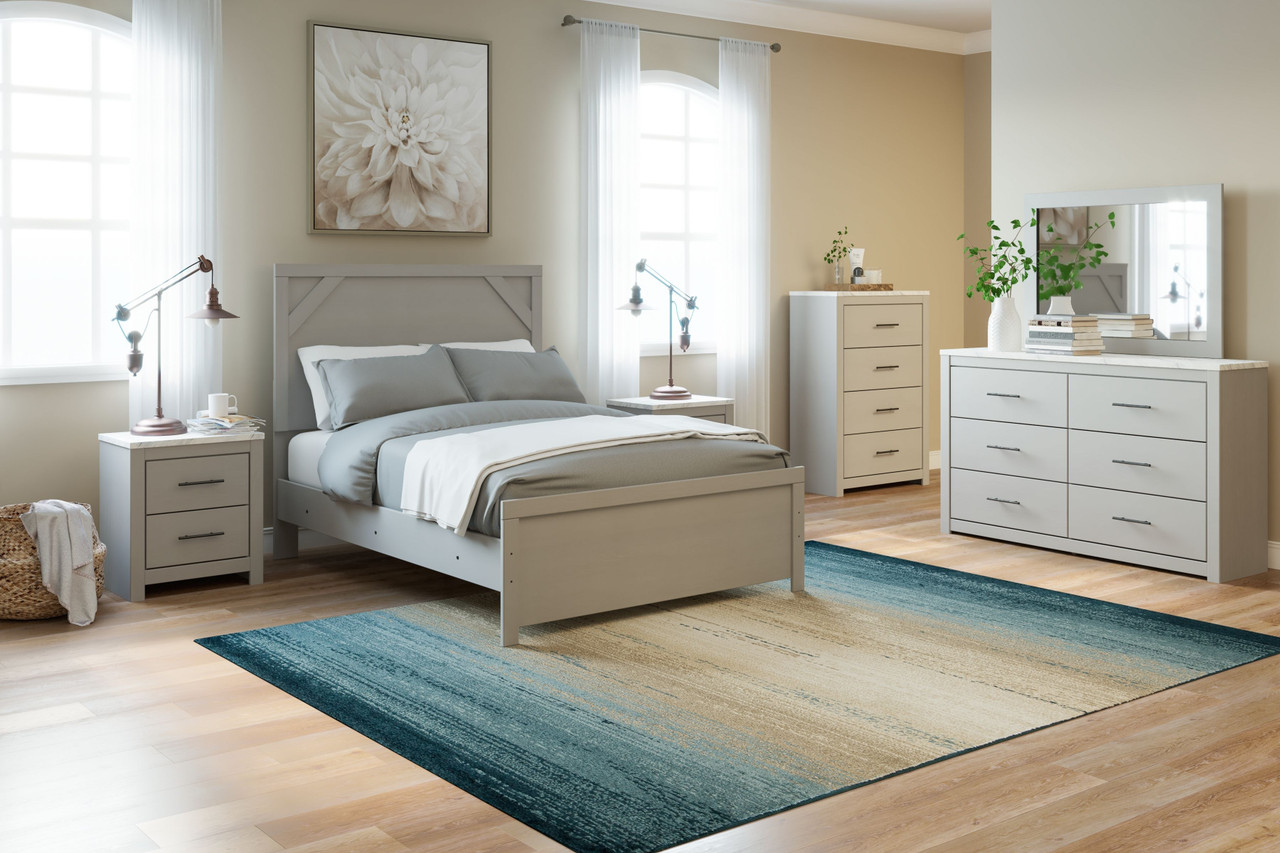 The Cottenburg Light Gray White 6 Pc Dresser Mirror Full Panel Bed 2 Nightstands Sold At Discount Home Furniture Serving Burnsville Mn