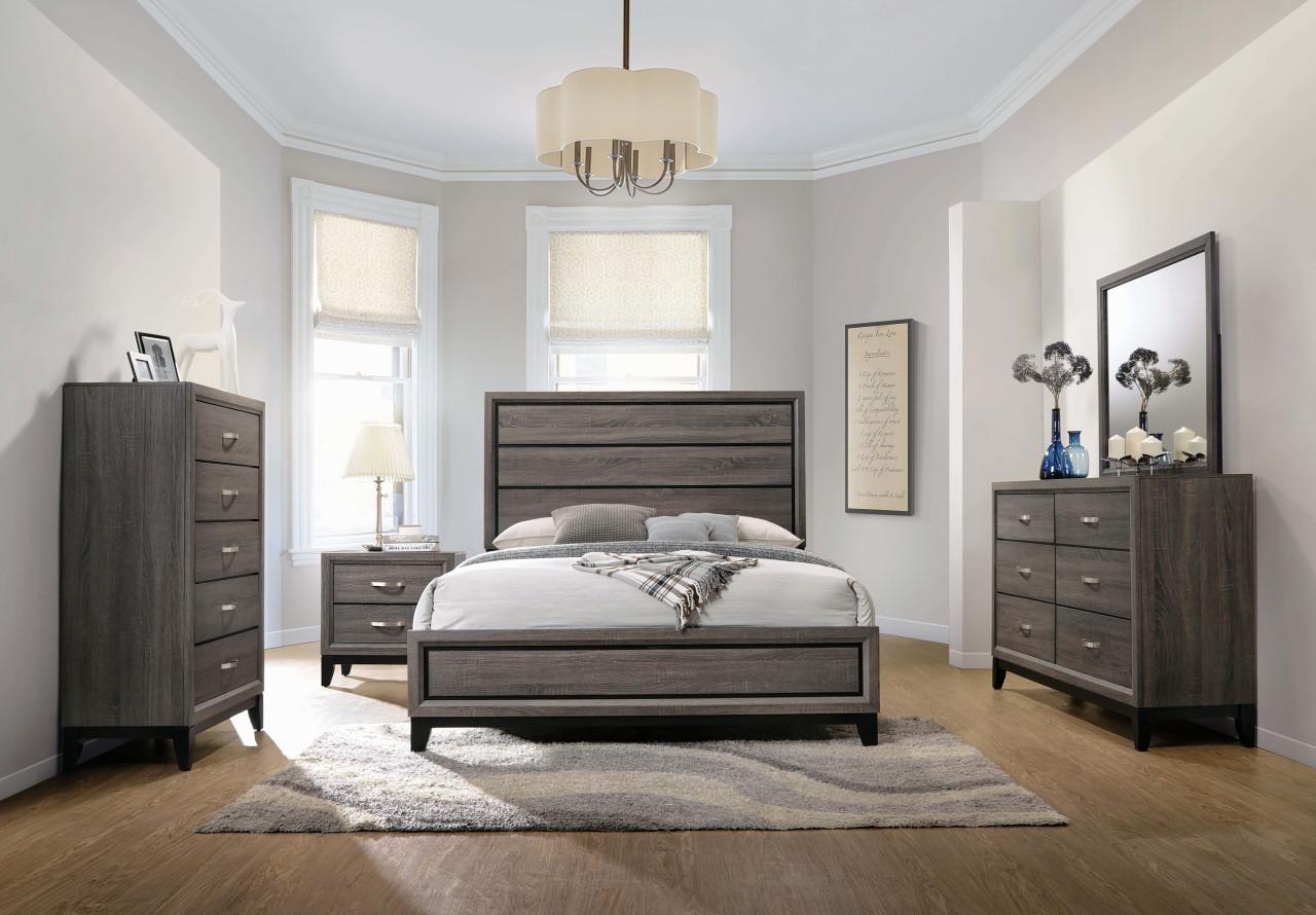 The Watson Grey Oak Queen Four Piece Bedroom Set Sold At Discount Home Furniture Serving Burnsville Mn