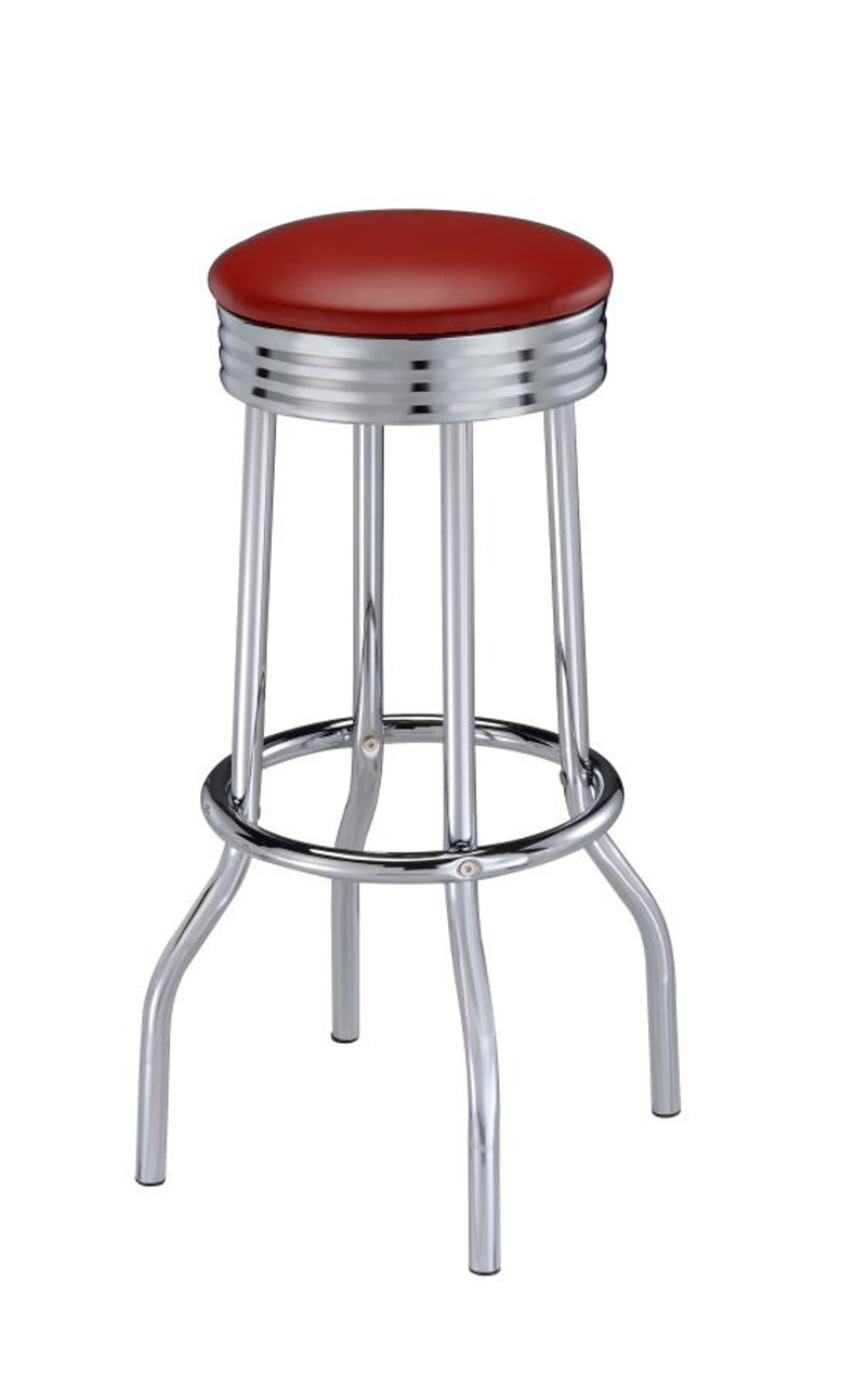 Picture of: The Cleveland Contemporary Red Bar Height Stools Set Of Two Sold At Discount Home Furniture Serving Burnsville Mn