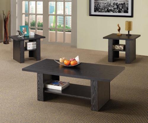 Contemporary Black Oak Three-Piece Table Set