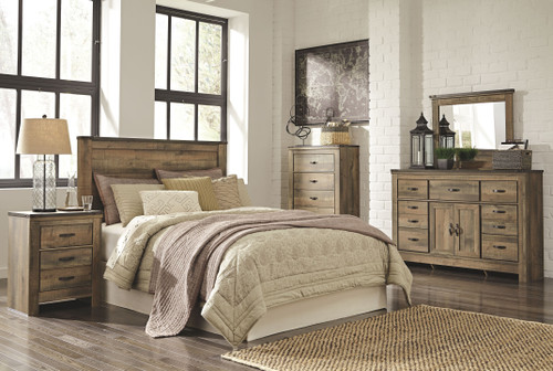 Trinell Brown 3 Pc. Dresser with Fireplace Option, Mirror & Queen Panel Headboard