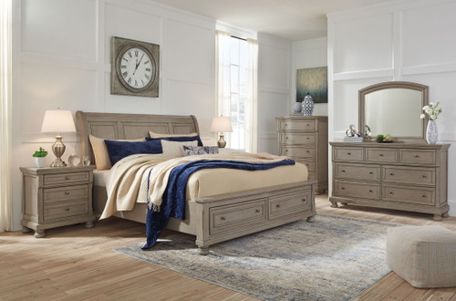 Lettner Light Gray 8 Pc. Dresser, Mirror, Chest, Queen Sleigh Bed with 2 Storage Drawers & 2 Nightstands