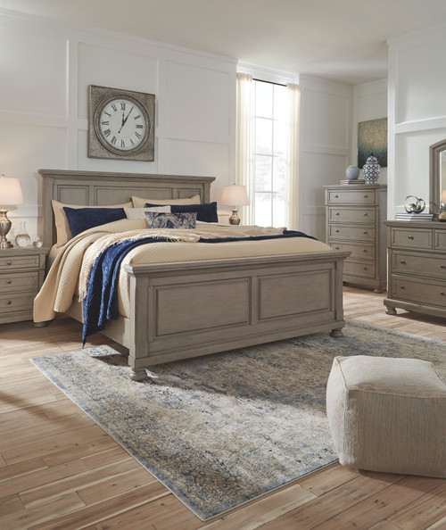 Lettner Light Gray 5 Pc. Dresser, Mirror & Queen Panel Bed