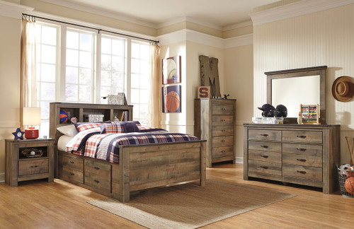 Trinell Brown 7 Pc. Dresser, Mirror, Chest & Full Panel Bed with 2 Storage Drawers