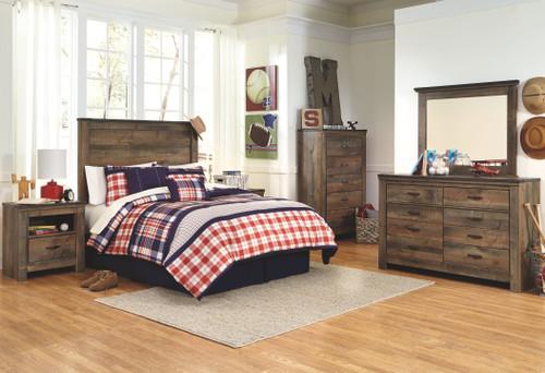 Trinell Brown Dresser, Mirror, Chest, Full Panel Headboard & 2 Nightstands