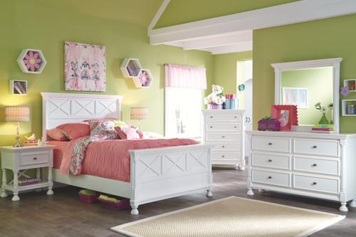 Kaslyn White 6 Pc. Dresser, Mirror, Chest & Full Panel Bed