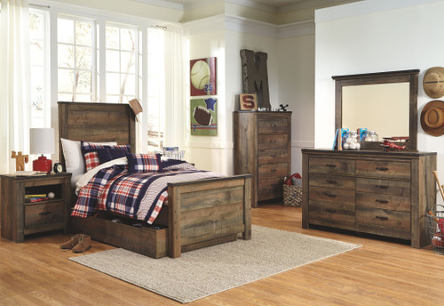 Trinell Brown 7 Pc. Dresser, Mirror, Chest & Twin Panel Bed