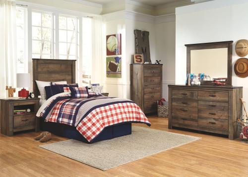 Trinell Brown Dresser, Mirror, Chest, Twin Panel Headboard & 2 Nightstands