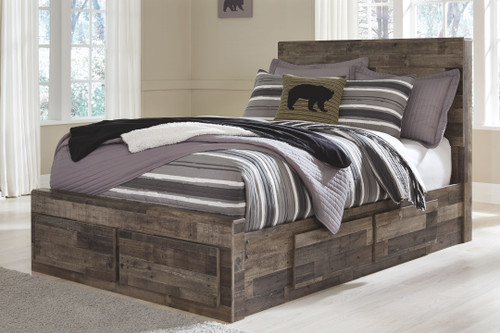 Derekson Multi Gray Full Panel Bed with 6 Storage Drawers