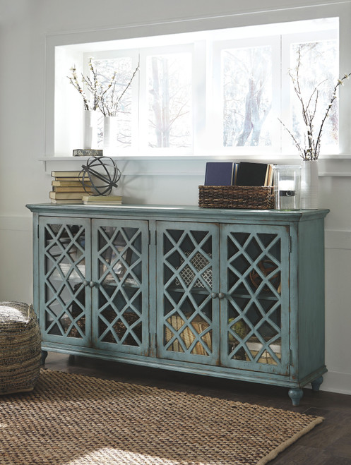 Mirimyn Antique Teal Accent Cabinet