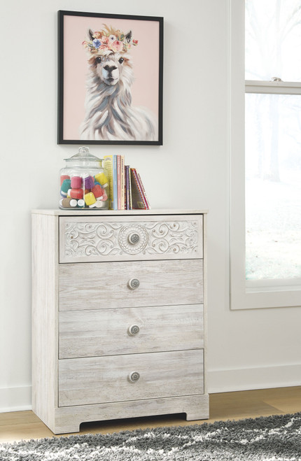 Paxberry White Aged Pine Four Drawer Chest